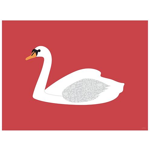 swan art print - berry - digital download