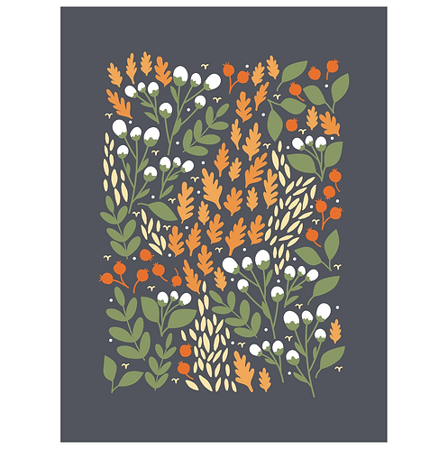 pom and cotton floral - dark charcoal