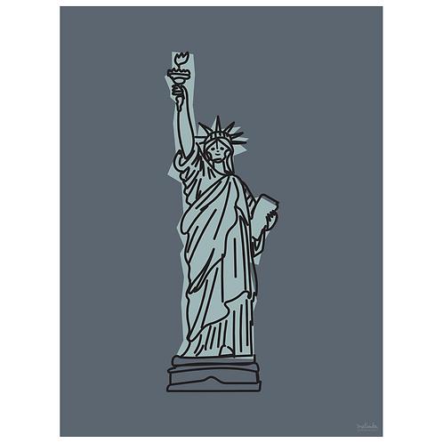 statue of liberty art print - grey navy - digital download