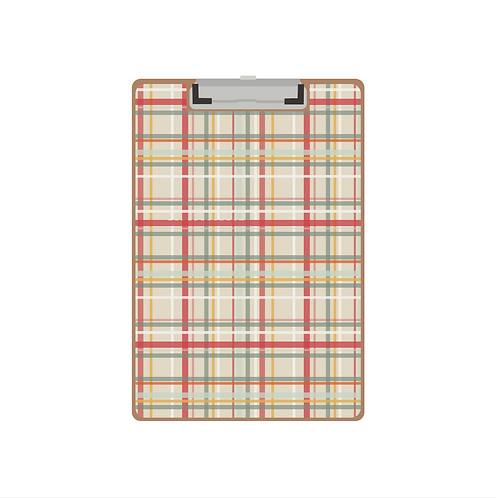 CLIPBOARD cream boat plaid pattern