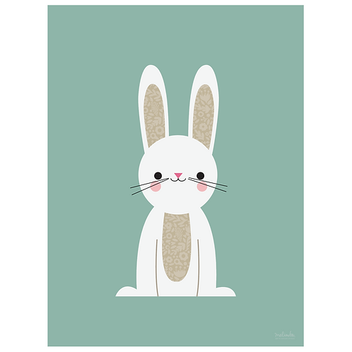 bunny art print - dark seafoam - digital download