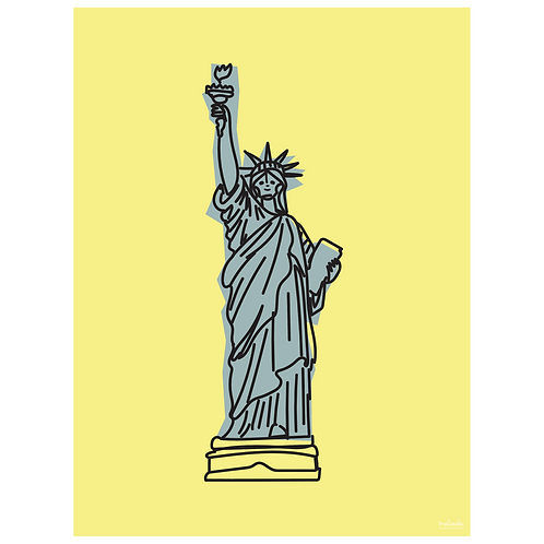 statue of liberty art print - yellow - digital download