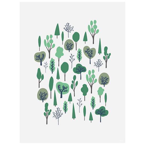 forest vertical art print - grey - digital download