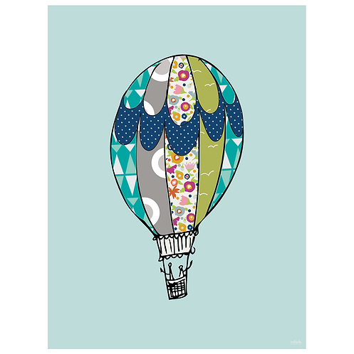 hot air balloon art print - powder blue - digital download