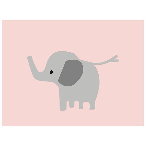 baby elephant art print - pink - digital download