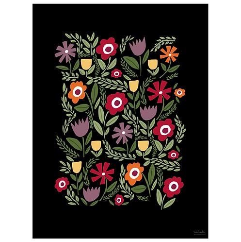 folk floral art print - primary on black - digital download