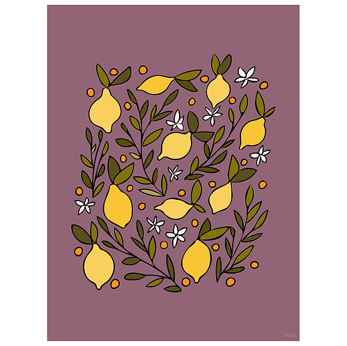 lemon blossom art print - grape - digital download