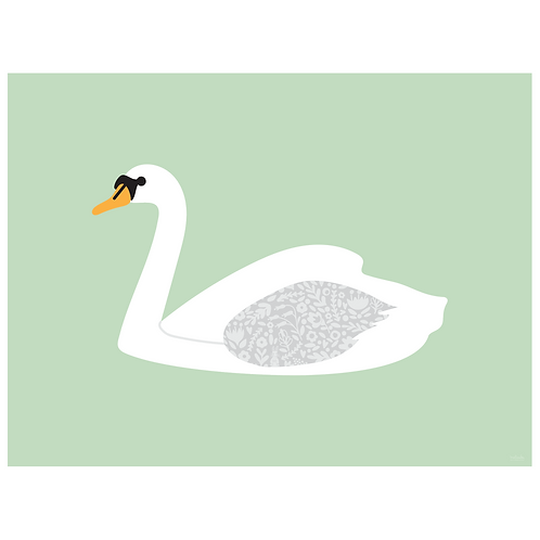 swan art print - mint - digital download