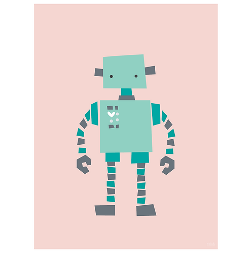 original robot art print - pink - digital download