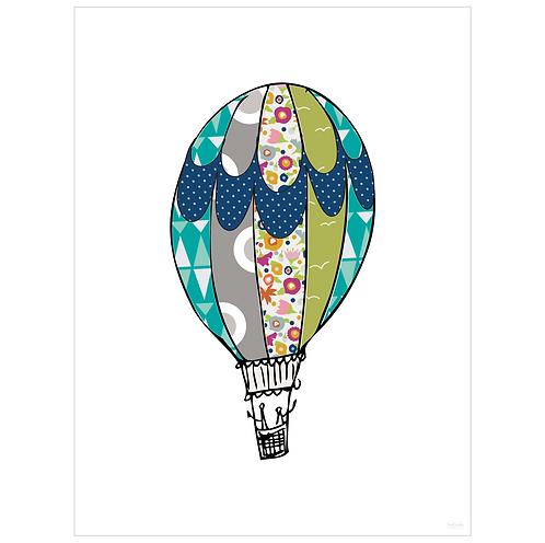 hot air balloon art print - white - digital download
