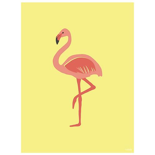 flamingo art print - yellow - digital download