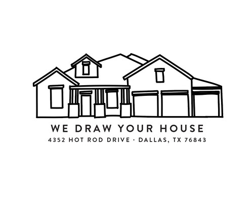Custom House Portrait Line Drawing Art Print Add On | Melimba   Stationery,  Gifts, And Delights