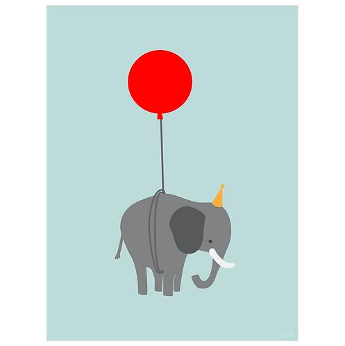elephant on balloon art print - powder blue - digital download