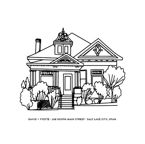 SIMPLE House Portrait Line Drawing