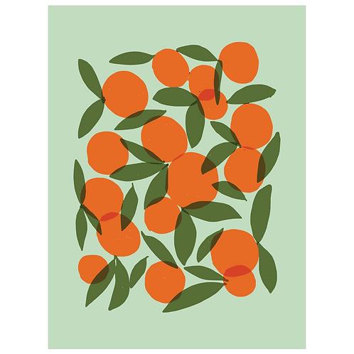 oranges art print - mint - digital download