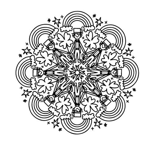 st. patrick's day mandala FREE coloring page