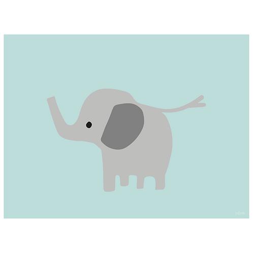 baby elephant art print - powder blue - digital download