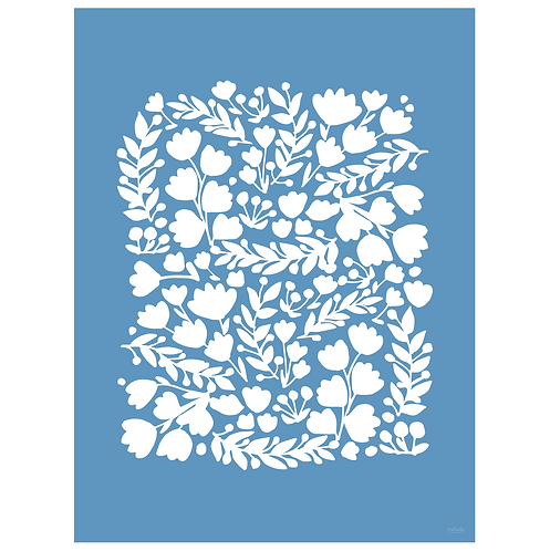 floral cutout art print - cornflower - digital download