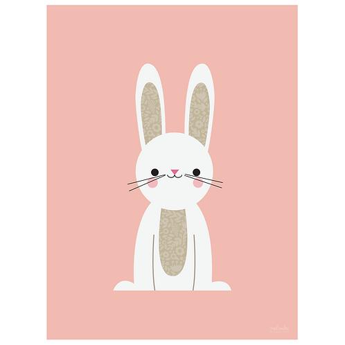 bunny art print - pink - digital download
