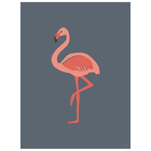 flamingo art print - navy - digital download
