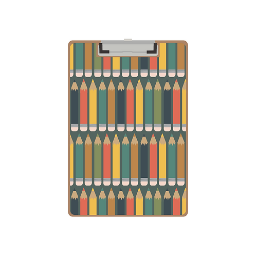 CLIPBOARD deep green pencil pattern