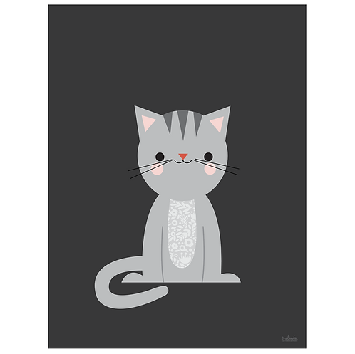 calico cat art print - dark charcoal - digital download