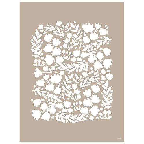 floral cutout art print - kraft - digital download