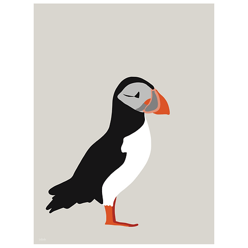 puffin art print - grey - digital download