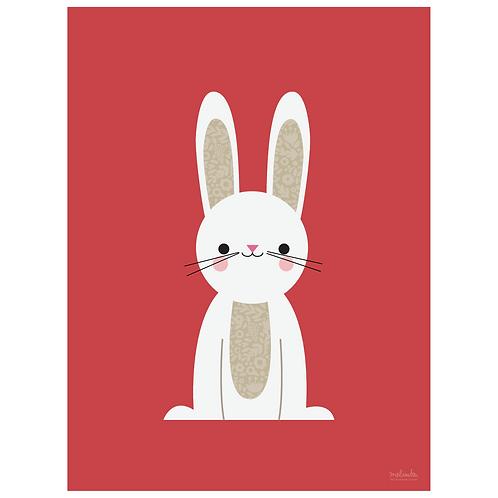 bunny art print - berry - digital download
