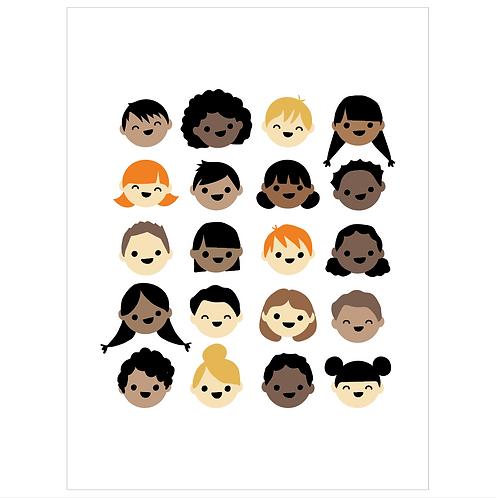 kid faces - white
