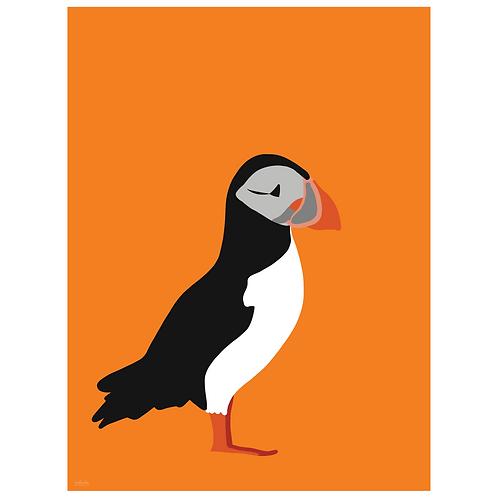 puffin art print - orange - digital download