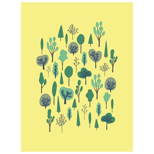 forest vertical art print - yellow - digital download