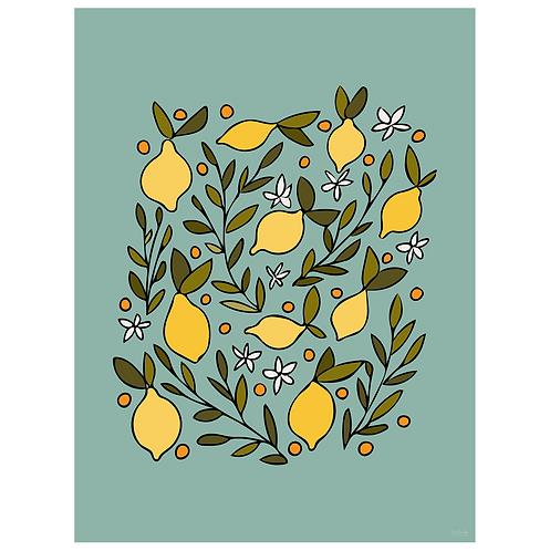 lemon blossom art print - dark seafoam - digital download