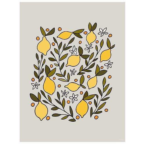 lemon blossom art print- grey - digital download