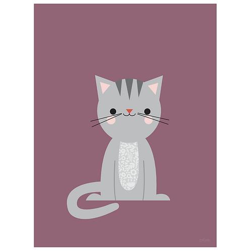 calico cat art print - grape - digital download