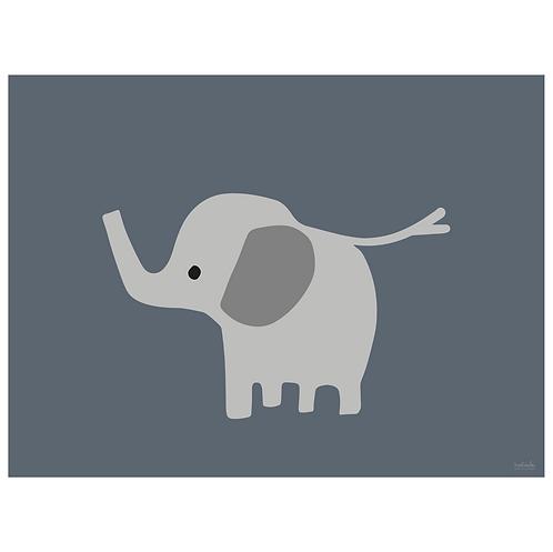 baby elephant art print - grey navy - digital download
