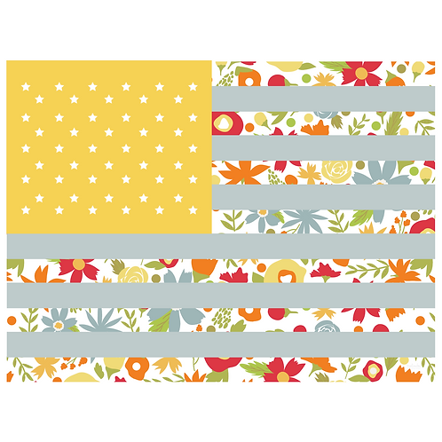 flag art print - garden grow main yellow - digital download