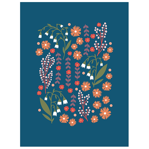 lillies valley floral mix - navy