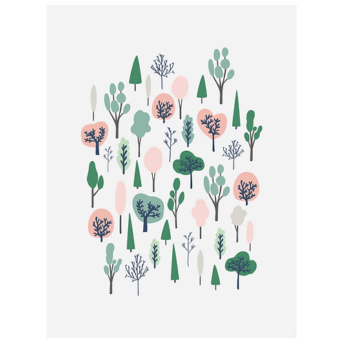 forest vertical art print - pink on grey - digital download