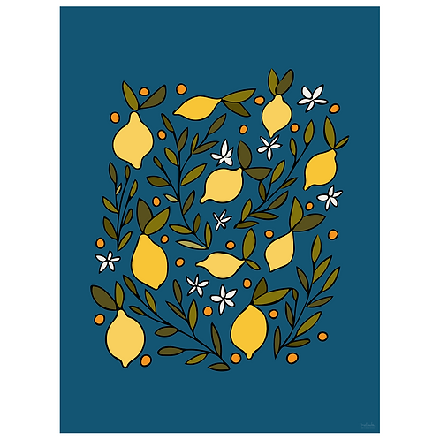 lemon blossom art print - navy - digital download