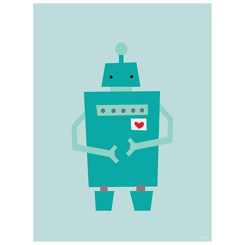 block robot art print - powder blue - digital download