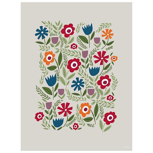folk floral art print - primary on grey - digital download