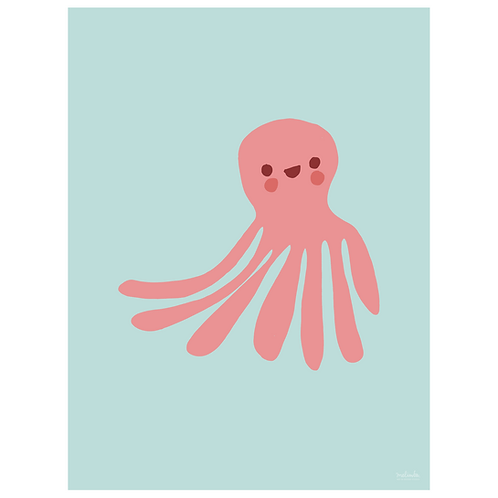 octopus art print - powder blue - digital download