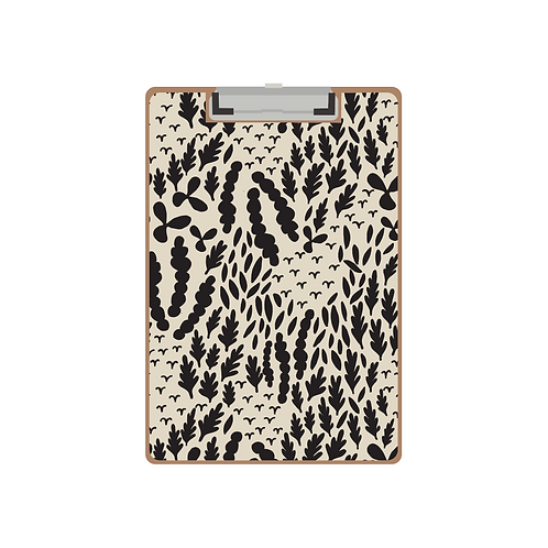 CLIPBOARD black & cream abstract pattern
