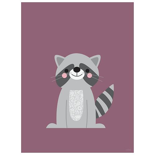 raccoon art print - grape - digital download