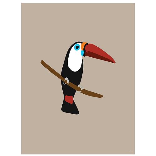 toucan art print - kraft - digital download