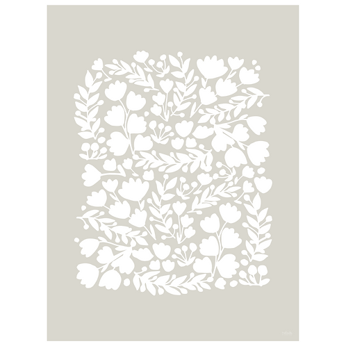floral cutout art print - grey - digital download