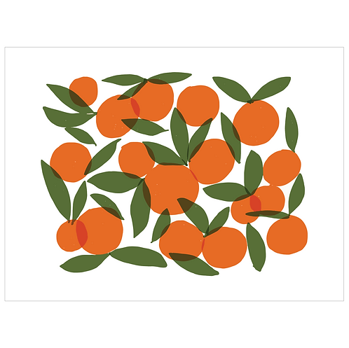 oranges art print - white - digital download