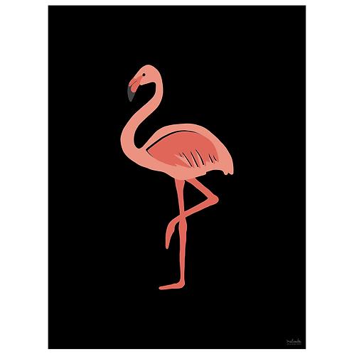 flamingo art print - black - digital download
