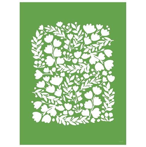 floral cutout art print - green - digital download